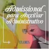 exame admissional para auxiliar administrativo